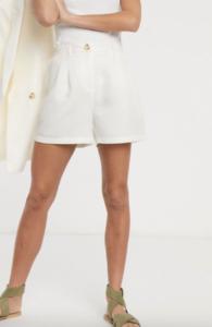 Asos pieces tailored city shorts in cream-$51